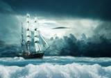 Zeilschip op zee fotobehang