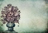Vintage bloemenvaas fotobehang