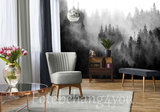 Misty Forest fotobehang zwart wit