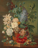 Bloemen in terracotta vaas fotobehang