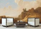 Bergachtig landschap met kasteelruine fotobehang Rijksstudio