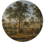 Behangcirkel Landschap met bomen