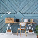 Blauwe planken fotobehang