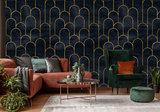 Art Deco behang Bogen Zwart Goud