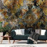 Barok op beton behang goud zwart