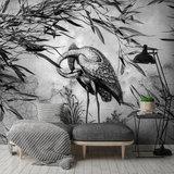 Kraanvogel behang Oude muur