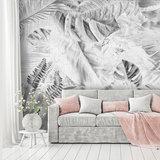 Palmbladeren op beton fotobehang grijs