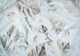Palmbladeren op beton fotobehang blauw