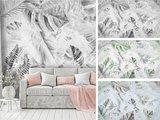 Palmbladeren op beton fotobehang