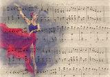 Bladmuziek behang Ballerina