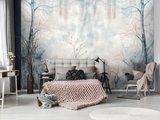 Aquarel behang slaapkamer Pastel Forest