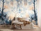 Aquarel behang Pastel Forest Blue
