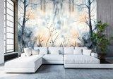 Aquarel behang slaapkamer Pastel Forest Blue