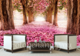 Roze Bloesem bomen behang