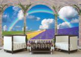 bloembollenveld fotobehang 3D