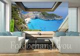 Raam fotobehang uitzicht baai
