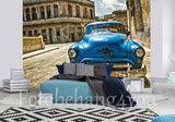 Blauwe auto behang