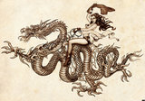 Dragon tattoo Alchemy fotobehang