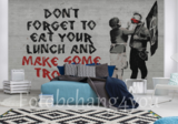 Banksy fotobehang eat your lunch