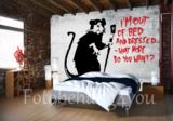 Banksy fotobehang Rat I'm out of bed