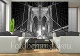 brug behang zwart wit
