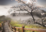 Cherry blossom fotobehang Misty Mountains