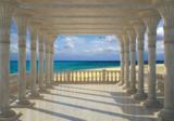 Zuilengalerij 3D behang Strand