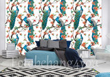 Blauwe Pauwen vlies behang