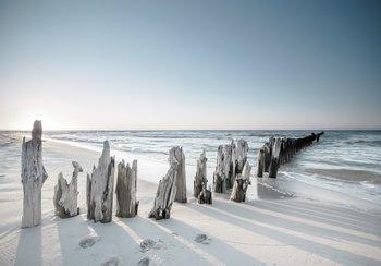 Strand fotobehang houten palen