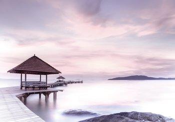 Pier fotobehang bij meer