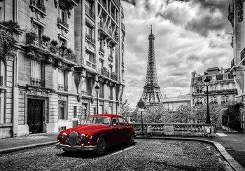 Rode auto Parijs fotobehang