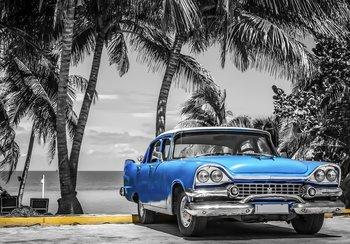 Palmboom Oldtimer fotobehang blauw