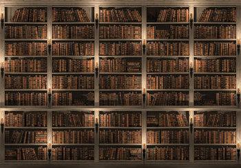Boekenkast fotobehang bruin