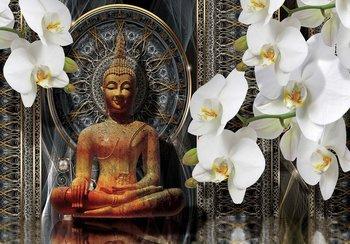Buddha fotobehang met orchideeen