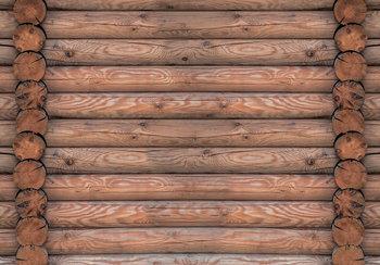 Blokhut hout bruin fotobehang