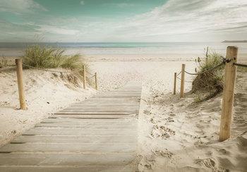 Strand loopplank fotobehang