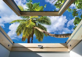 Dakraam fotobehang Palmboom