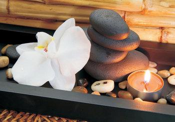 Zen stenen bloem fotobehang