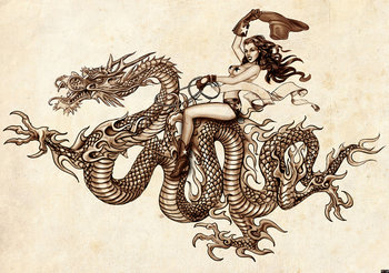 Dragon tattoo Alchemy fotobehang