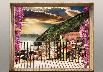 Balkonzicht fotobehang 3D