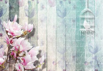 Hout fotobehang bloemdecoratie