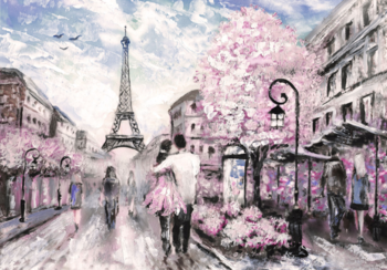 Liefdespaar Parijs fotobehang