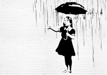 Umbrella Girl fotobehang Banksy