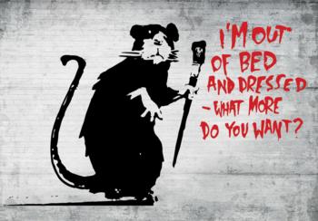 I'm Out of Bed fotobehang Banksy