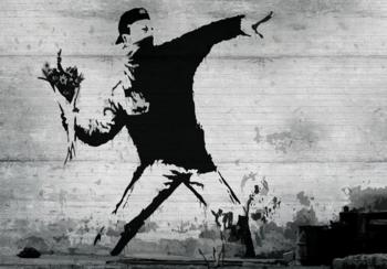 Flower Bomber fotobehang Banksy