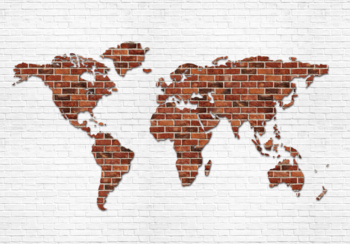 Wereldkaart steen fotobehang