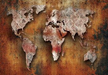 Wereldkaart fotobehang roest