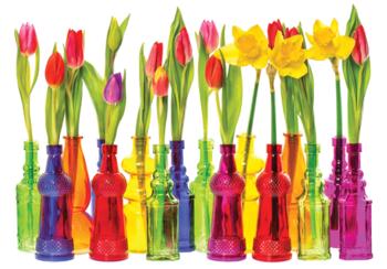 Tulpen fotobehang met Vaasjes