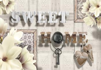 Hout fotobehang Sweet Home grijs