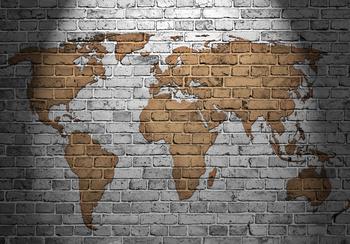 Wereldkaart fotobehang Steen bruin